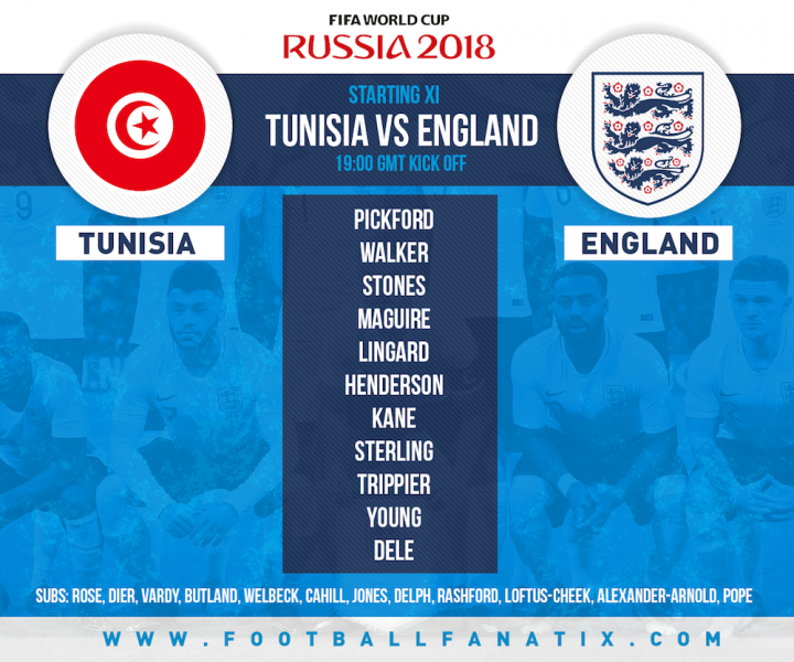 England team v Tunisia in group G World Cup 2018