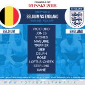 England team v Belgium World Cup 2018