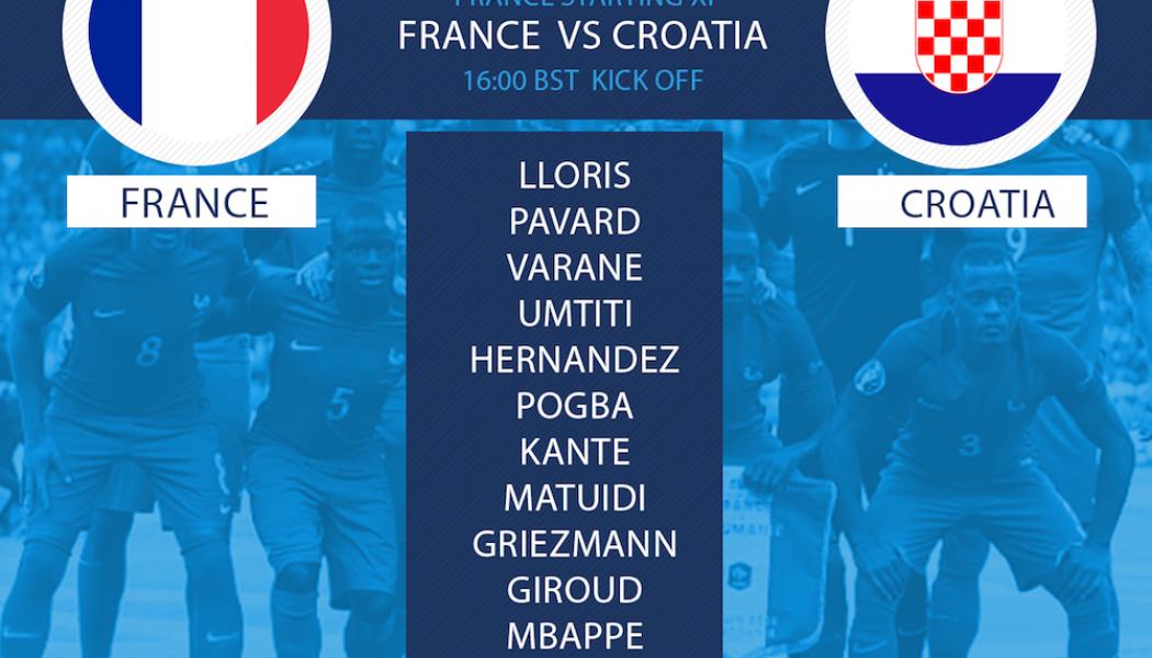 France team v Croatia World Cup final 2018